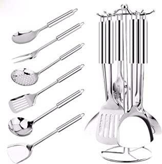 7 Pcs Kitchen Utensils MultiFunctional Stainless Steel Kitchenware with Holder Stand Gift for Cooking