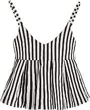 SheIn Women's Summer Printed Ruffle Hem Blouse Cami Sleeveless Peplum Top
