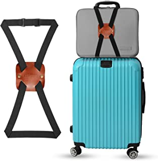 Bag Bungee Luggage Straps Made by Genuine Leather - An Adjustable and Portable Travel Suitcase Accessory (Brown)