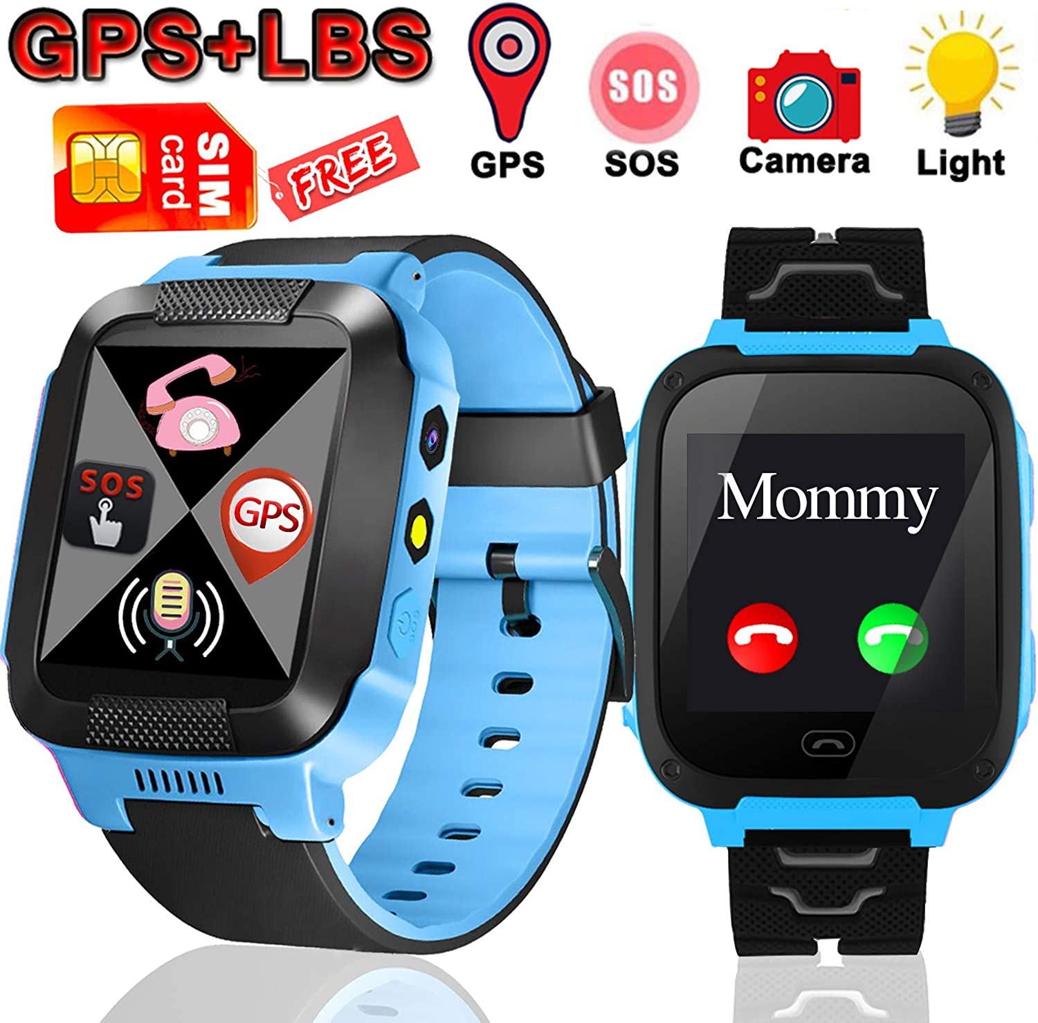 Kids Smart Watch Phone with Free SIM Card,Smartwatch for 3+ Girls Boys with GPS&LBS Positioning Tracker 2 Way Calls&Voice Chat SOS Call Touch Screen Alarm Clock Compatible Android iOS Birthday Gift