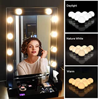 Vanity Mirror Lights Kit,Upgraded 3 Color Modes LED Lights for Mirror Makeup Mirror Lights Kit Hollywood Style Lighting Fixture Strip (Daylight,Warm,Natural White)