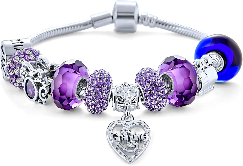 Max 68% OFF Purple Love Grandma Family Themed Charm Beads Starter Multi Direct sale of manufacturer Brac