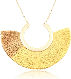 Bohemian Fringe Tassel Pendant Statement Necklace - Silky Strand Semi Circle Thread Fan Charm Long Chain