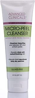 Advanced Clinicals Micro-Peel Glycolic Acid Cleanser Face Wash Dissolves Impurities, Releases Dirt and Oil, Reveals Radian...