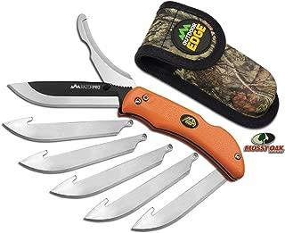 OUTDOOR EDGE RazorPro Double Blade Folding Hunting Knife - Replacement Razor Blade, Gutting Blade, Non-Slip TPR Handle, Nylon Sheath…