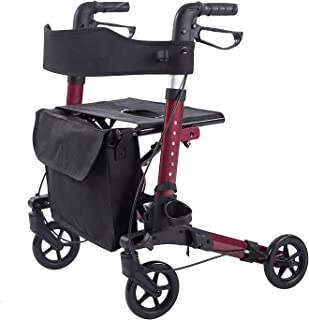ELENKER LightWeight Rollator Walker,Foldable Stable Compact Rolling Walker with Seat,Detachable Storage Bag ,Red