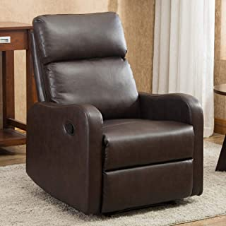 CANMOV Manual Leather Recliner Chair, Single Seat Sofa Home Theater Seating Chair with Storage Bag Overstuffed Arms and Back, Brown01