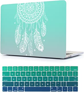 Batianda 2017/2016 New MacBook Pro 13 inch Case No Touch Bar Models Number: A1708 Dream Catcher Desgin Plastic Hard Cover Laptop Shell with Gradient Silicone Keyboard Skin (Green)