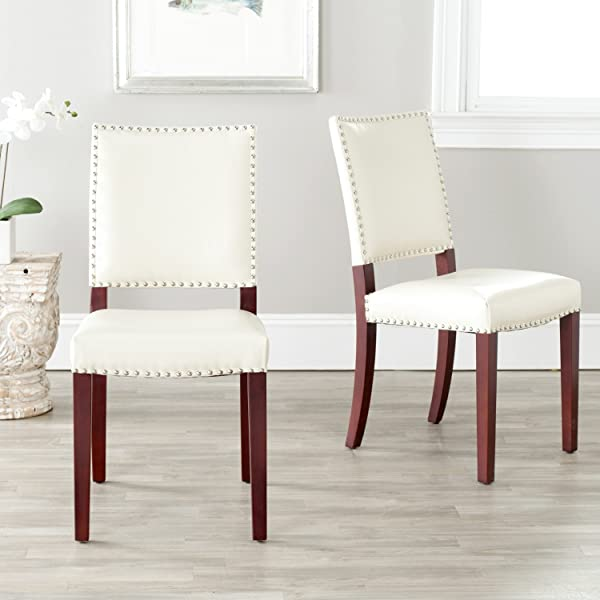 Safavieh Mercer Collection Colette Leather Side Chairs Cream Set Of 2