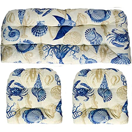 3 Piece Wicker Cushion Set Indoor Outdoor Blue Tan Ivory Nautical Ocean Life Fish Crab Seashell Pattern Fabric Cushion For Wicker Loveseat Settee 2 Matching Chair Cushions Kitchen Dining