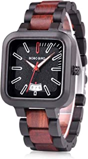 BOBO BIRD Mens Wooden Watches Lightweight Casual Sport Wristwatches Date Display Quartz Watch with Wood Box for Men