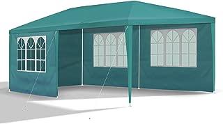 JOM Gartenpavillon 3 x 6 m, mit 6 Seitenwänden 110G PE, petrol grün