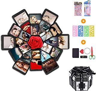 Creative Explosion Box -Explosion Box DIY Photo Album Scrapbook 6 Faces Explosion Gift Box for Wedding Proposal Engagement Birthday Anniversary Gifts, Black … (Large)