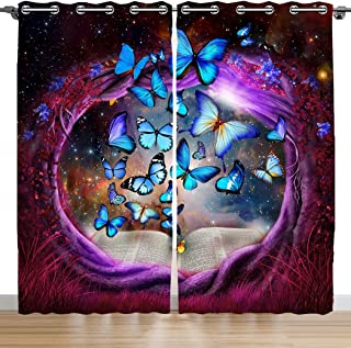 SXCHEN Blackout Curtains 2 Panels Grommet Bedroom Curtain Purple Tree Hole Blue Butterfly W42 x L84 Inch