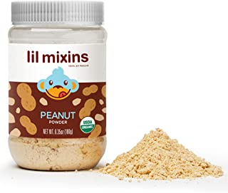 Lil Mixins Early Introduction Peanut Powder. Safely Introduce Your Child to Peanuts. 185 g. Easily Stir into Baby Food. 0g of Sugar. Made from 100% Organic Peanuts