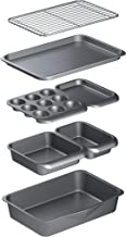 MasterClass Smart Space 7 Piece Non-Stick Stackable Bakeware Set: Roasting Pan, Square Cake Tin, Loaf Tin, Muffin Tray, Tw...