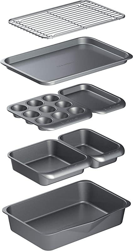 Masterclass KitchenCraft Smart Space Non Stick Carbon Steel Stackable Bakeware Set Including Roasting Tin Baking Trays And Muffin Tray 7 Piece Set