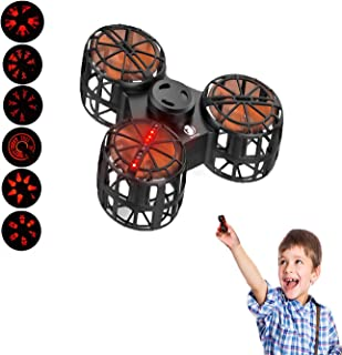 EliveBuy Anti-Anxiety Fidget Toy, Flying Fidget Spinner, Mini Drone with 6 LED Pattern, USB Rechargeable, Children's Day Gift