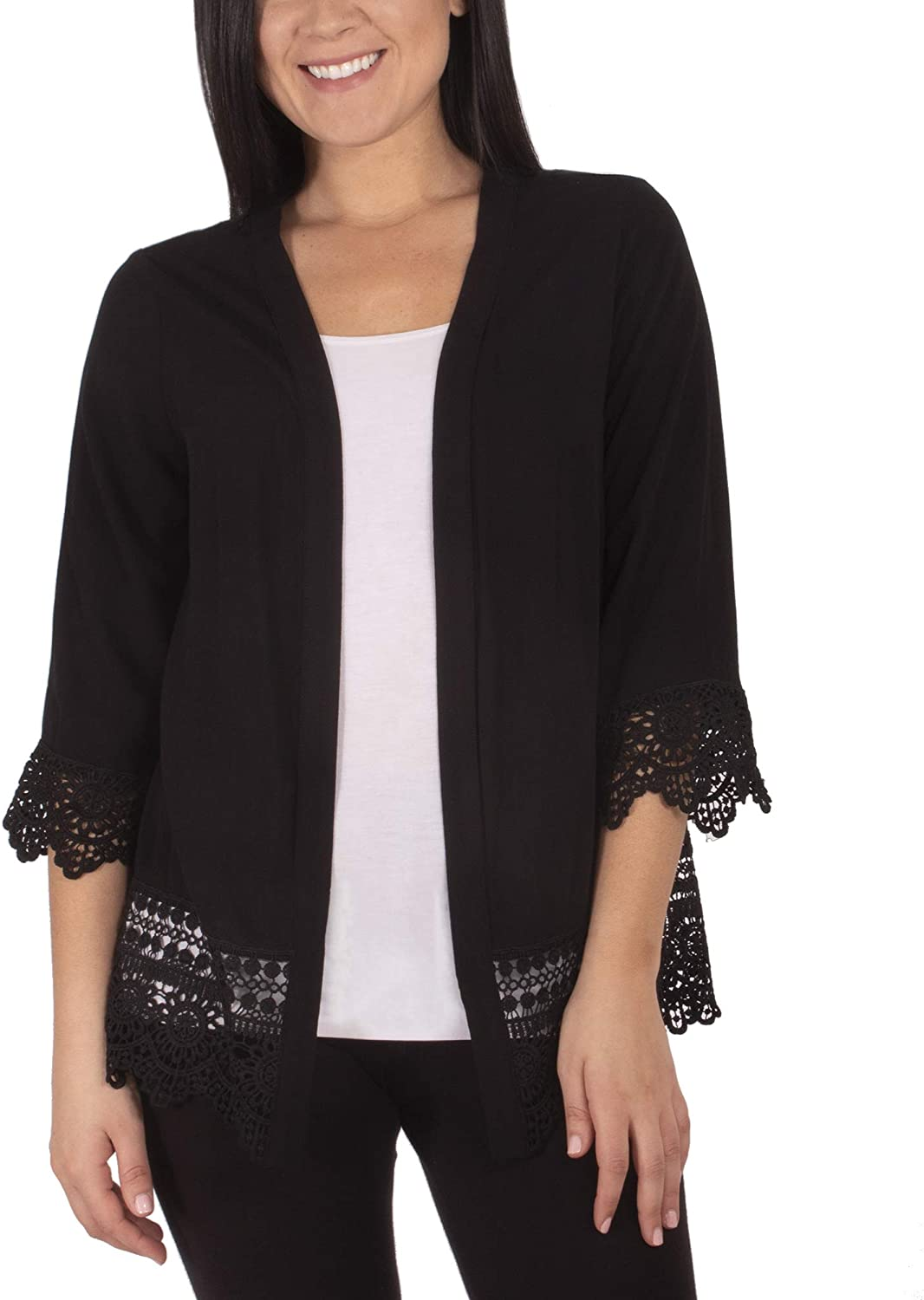 Long Cardigan with Crochet-Trimmed Cuffs and Hem