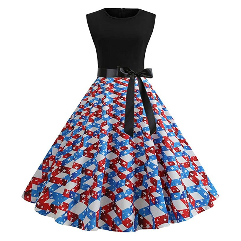 Women Casual Vintage Dresses Swing Polka Dot/Flag Cocktail Prom Party Dress