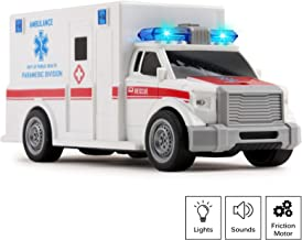 Vokodo Rescue Ambulance Friction Powered 1:20 Scale Toy Car with Lights and Sounds Durable Kids Medical Transport Emergency Vehicle Push and Go Pretend Play Van Great Gift for Children Boys Girls