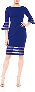 Calvin Klein Women's Bell Sleeve Sheath with Sheer Inserts Dress