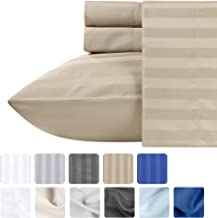 Khaki Full Size Bedding Set - 4 Piece Dobby Damask Stripe Sheet Set, 100% Pure Cotton Sateen Weave, 500 Thread Count Lightweight Bed Sheets, Deep Pocket Fits Mattress upto 18 Inches