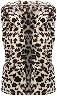 E-Scenery Fashion Leopard Vest Coats Women Hooded Sleeveless Pockets Warm Plush Tops