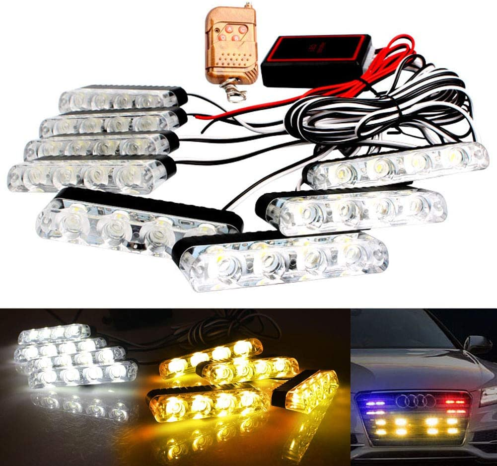 Today's only LED Emergency Strobe Lights Bars DIBMS Cheap super special price 8x 8 Amber in White 4