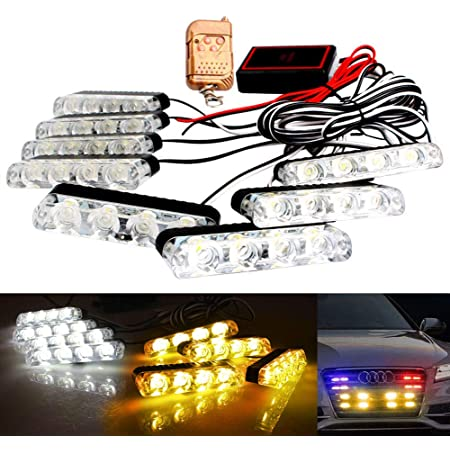 4x6 LED Car Emergency Strobe Flashing Hazard Lights 4 in 1 Surface Mount Grill Light Warning External Light with Wireless Remote for Vehicle Truck Trailer Van DC12V Blue