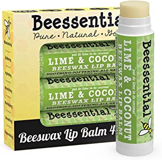 Beessential All Natural Coconut Lime Lip Balm 4 pack – Heals and Prevents Dry and Chapped Lips –– Great for Men, Women, and Children - Moisturizing Beeswax, Coconut, Shea and Cupuacu Butter