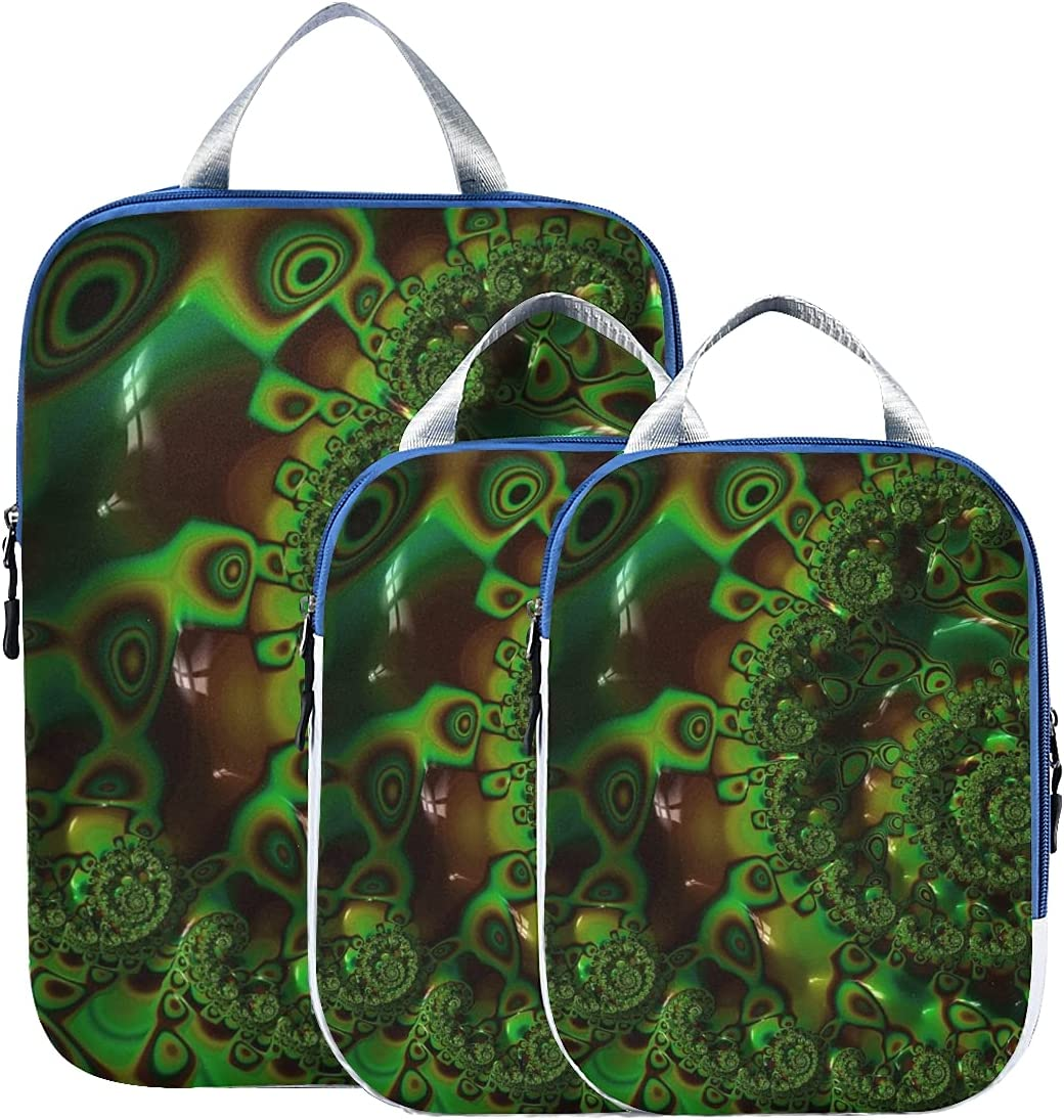 Suitcase Organizers Fractals Max 61% OFF Green Abstract S Julia Mathematical Mail order
