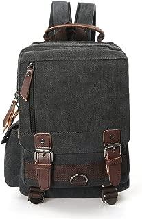 Small Canvas Travel Backpack Purse Rucksack One Strap Sling Cross body Messenger Bag (Black)