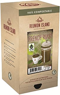 Reunion Island Fair Trade Organic French Roast Coffee Pods-3 Pack-48 Coffee Pods Total