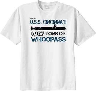 ShipShirts™ Big Boy's SSN 693 USS Cincinnati 6,927 tons tons of Whoopass Short Sleeve T-Shirt