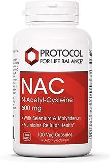 Protocol For Life Balance - NAC (N-Acetyl Cysteine) 600 mg - Glutathione Precursor That Maintains Cellular Health, Support...