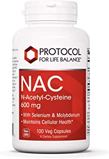 Protocol For Life Balance - NAC (N-Acetyl Cysteine) 600 mg - Glutathione Precursor That Maintains Cellular Health, Supports Liver & Lung Function & Immune System Function - 100 Veg Capsules