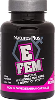 NaturesPlus E FEM - 60 Vegetarian Capsules - for Women - High Potency Natural Hormone Balancing Supplement with Anti-Aging Maca & Herbs - Gluten-Free - 30 Servings