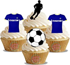 12 x Everton FC Football Mix - Choose From UNFLAVOURED or VANILLA-SWEETENED Toppers - Fun Novelty Birthday PREMIUM STAND UP Edible Wafer Card Cake Toppers Decorations