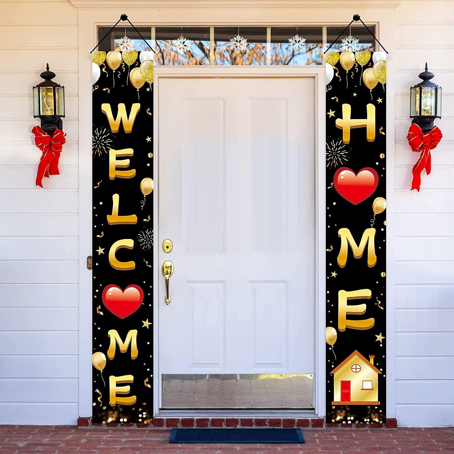Welcome Home Door Banner Decoration, Black Gold Welcome Back Home Porch Banner for Outdoor Decor, Military Homecoming Deployment Returning Party Supplies