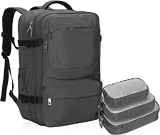 Hynes Eagle 44L Carry on Backpack Flight Approved Compression Travel Pack Cabin Bag Grey with Grey 3PCS Packing Cubes 2019