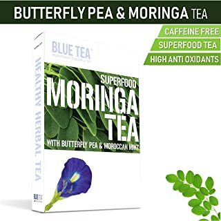 Blue Tea Moringa Mint | 24 Cups - 12 Tea Bags | Caffeine Free | Butterfly Pea Herbal Tea - Superfood Tea - Weight Loss Tea (24 Cups - 12 Teabags)