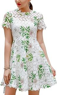 Chicwish Women's Wildflower Pattern Full Crochet Short Sleeves Flare Dress