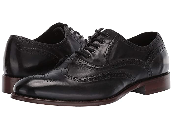 1920s Style Mens Shoes | Peaky Blinders Boots JM EST. 1850 Bryson Wingtip Black Mens Shoes $181.26 AT vintagedancer.com