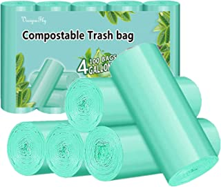 Biodegradable Garbage Bag, 4 Gallon Compost Trash Bags Strong Rubbish Can Liners Unscented Wastebasket Bags for Kitchen Ba...