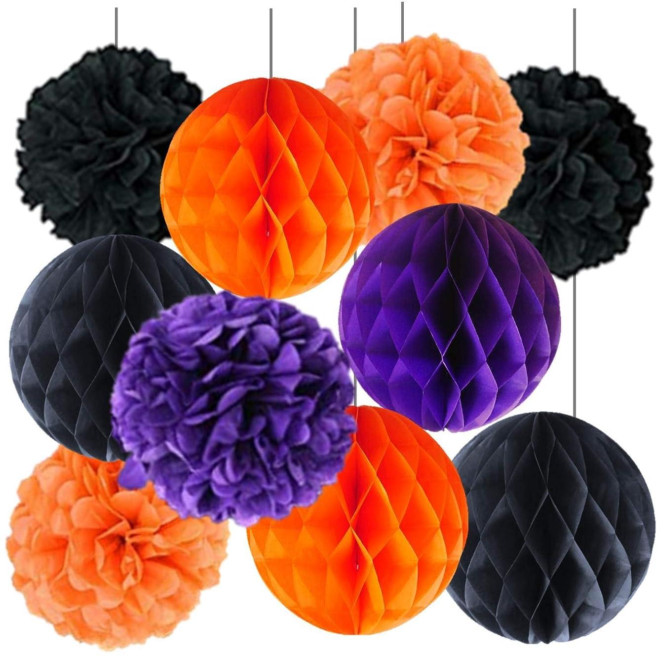 繁雑日常的に大いにハロウィン装飾 飾り Tetote Link ハニカムボール ボンボンフラワー デコレーション s011 (橙+黒+(紫))