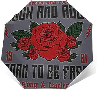 Paraguas Plegable Automático Impermeable Lema de Rock Roll Ever, Paraguas De Viaje Compacto a Prueba De Viento, Folding Um...