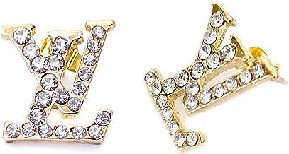 L-V- 18K Gold Plated/White Gold Plated Vintage Swarovski Crystal Studs Earrings