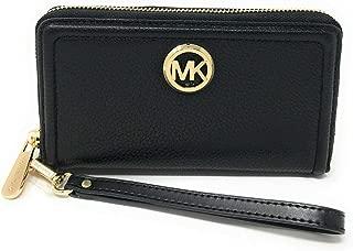 2019 Fulton Large Flat Pebble Leather Phone Case Wristlet Black