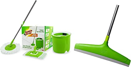 Scotch-Brite Jumper Spin Mop with Round and Flat Heads with Refill & Scotch-Brite Plastic Floor Squeegee Wiper -with Telescopic Handle (Green/Silver)